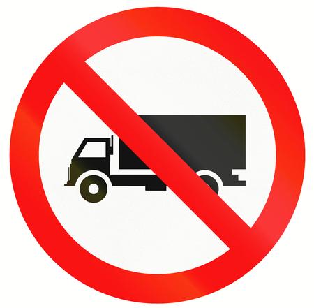 thoroughfare: Indonesian traffic sign prohibiting thoroughfare of lorries.
