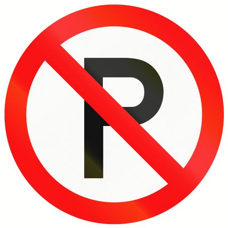 carriageway: Indonesian traffic sign: No parking along carriageway. Stock Photo