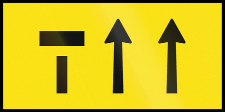 the ends: An Australian temporary roadwork sign: Left of three lanes ends.