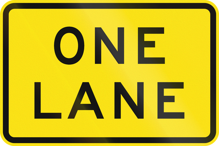 one lane road sign: An Australian warning traffic sign - One Lane Stock Photo