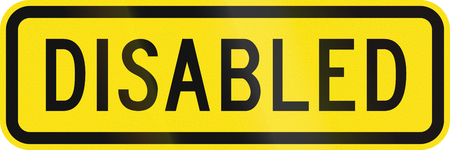 physical impairment: An Australian warning traffic sign - Disabled people, old version Stock Photo