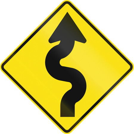 right handed: Australian road warning sign - Winding road, right version Stock Photo