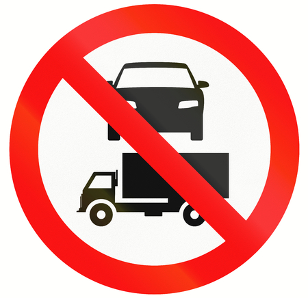 thoroughfare: Indonesian sign prohibiting thoroughfare for cars and lorries. Stock Photo