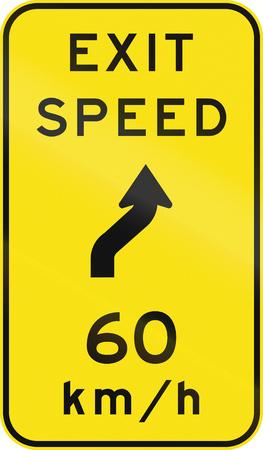reversing: An Australian warning traffic sign - Advisory exit speed at reverse curve