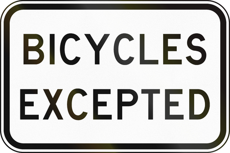 supplementary: Supplementary Australian road sign: Bicycles excepted