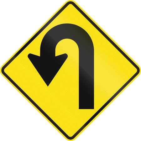 reversing: Australian road warning sign - Hairpin Curve