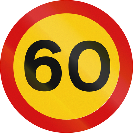 kmh: Road sign in Iceland - Maximum speed limit (kmh) Stock Photo
