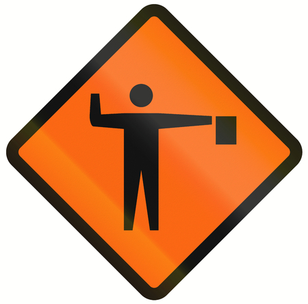 handed: Indonesian temporary warning traffic sign: Flaggers in road ahead. Stock Photo