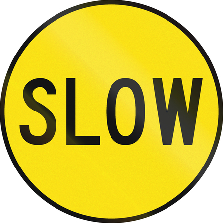 roadwork: An Australian temporary roadwork sign - Slow