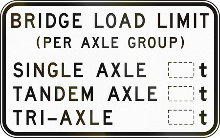 axle: Australian regulatory sign: Bridge load limits per axle group, with copy space