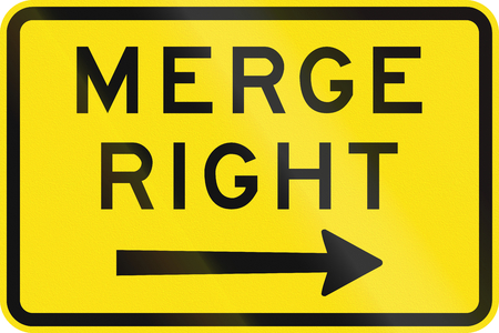 right handed: An Australian warning traffic sign - Merge Right Stock Photo