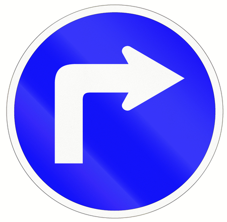 Indonesian traffic sign - Turn right ahead