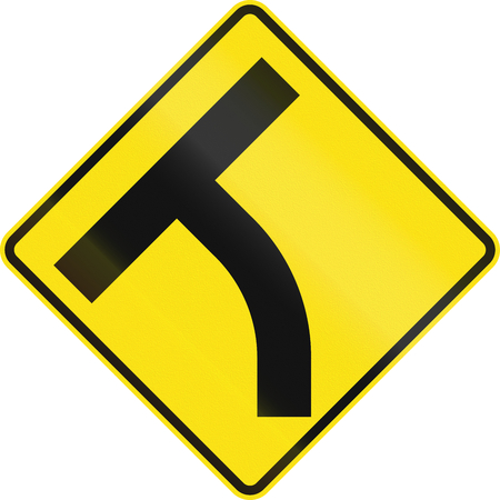 handed: Australian road warning sign - T-Intersection ahead