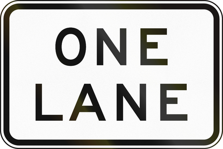 one lane road sign: Supplementary Australian road sign - One Lane Stock Photo