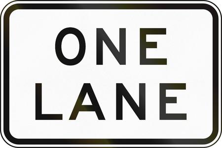 one lane roadsign: Supplementary Australian road sign - One Lane Stock Photo