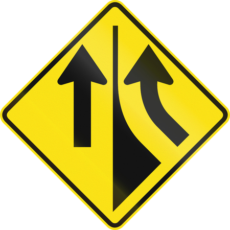 merging: Australian road warning sign - Merging from the right