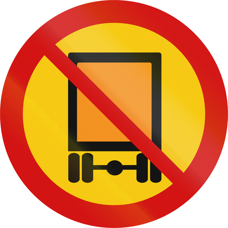 goods: Road sign in Iceland - No vehicles carrying dangerous goods