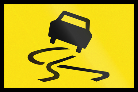 skidmarks: Australian temporary road warning sign: Slip danger Stock Photo