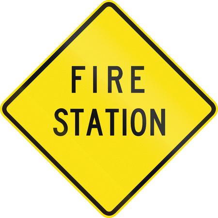 estacion de bomberos: Un signo de alerta de tr�fico de Australia - Estaci�n de Bomberos
