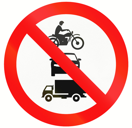 thoroughfare: Indonesia sign prohibiting thoroughfare for all motor vehicles. Stock Photo