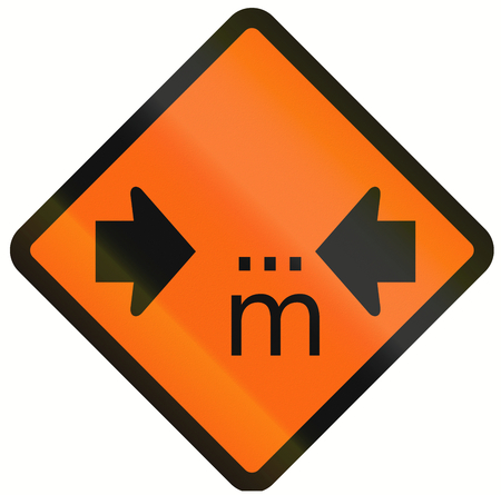 width: Temporary warning road sign in Indonesia: Width restriction ahead in meters Stock Photo