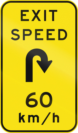 sharp curve: An Australian warning traffic sign - Advisory exit speed at hairpin curve
