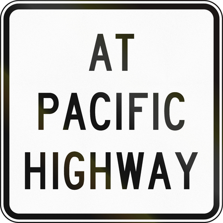 supplementary: Supplementary Australian road sign: At Pacific Highway Stock Photo