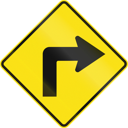curve road: Australian road warning sign - Right curve ahead Stock Photo
