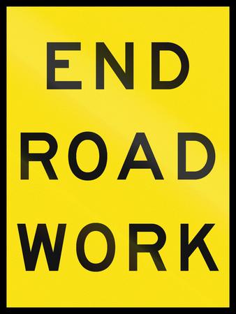 roadwork: An Australian temporary roadwork sign: End Roadwork Stock Photo