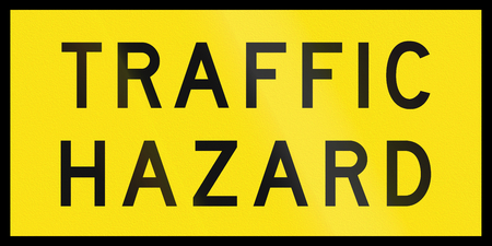 roadwork: An Australian temporary roadwork sign: Traffic hazard Stock Photo