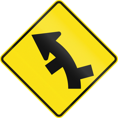 left handed: Australian road warning sign - Offset roads intersection in curve ahead