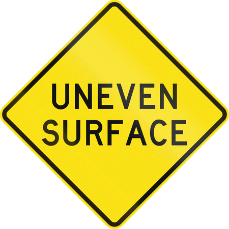 An Australian warning traffic sign - Uneven surface Stock Photo