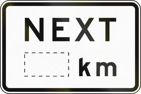 supplementary: Supplementary Australian road sign: Next... kilometers, with copy space