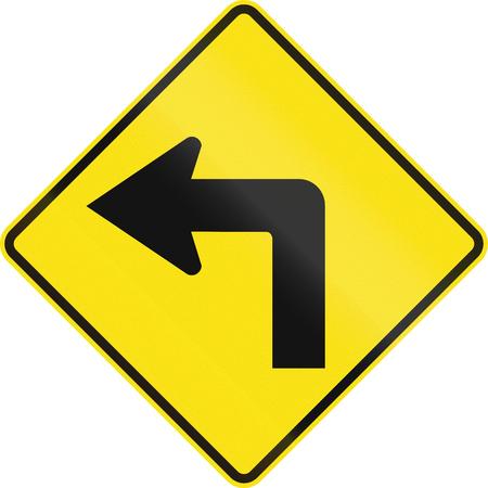 curve road: Australian road warning sign - Left curve ahead