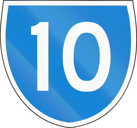 number 10: Australian state route shield - with number 10 Stock Photo