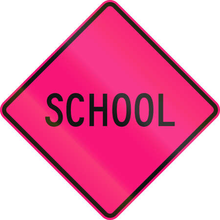 lurid: An Australian warning traffic sign - School, magenta version, used in the Northern Territory