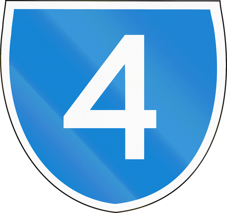 number 4: Australian state route shield - with number 4 Stock Photo