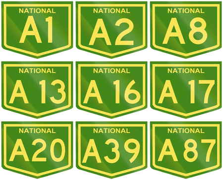 number 16: Collection of broad Australian National Highway shields with numbers A1 to A87. Stock Photo