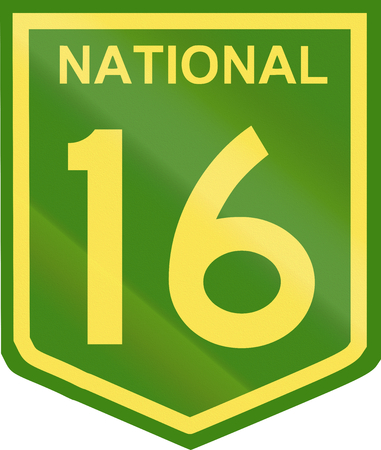 number 16: Australian National Highway shield with number 16. Stock Photo