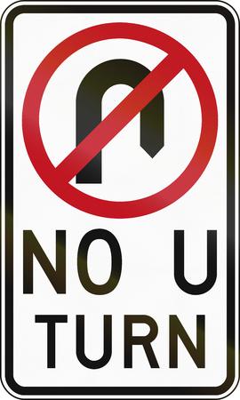 red handed: Australian traffic sign - No U-Turn Stock Photo