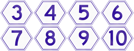 number 3: Collection of Australian Metroad Route Markers from number 3 to 10, used in Brisbane, Queensland.