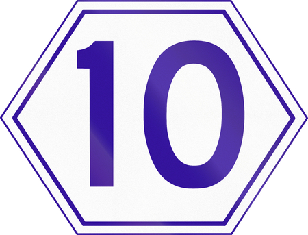 number 10: Australian Metroad Route Marker Number 10, used in Brisbane, Queensland.