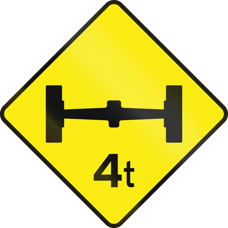 axle: Irish traffic sign warning about an Axle Load Limit ahead. Stock Photo