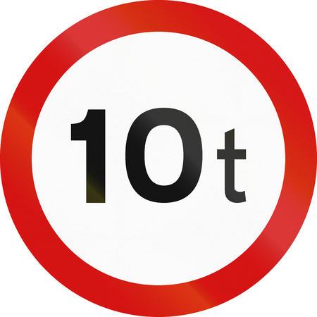 metric: Irish traffic sign prohibiting throroughfare of vehicles with a weight over 10 metric tons. Stock Photo