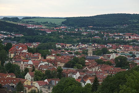 image created 21st century: View over Eisenach, Thuringia, Germany, from the Goepelskuppe.