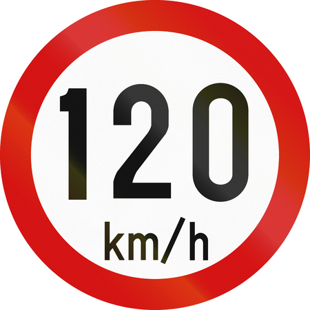 restricting: Irish traffic sign restricting speed to 120 kilometers per hour. Stock Photo