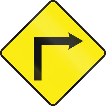 curve road: Irish road warning sign: Right curve ahead
