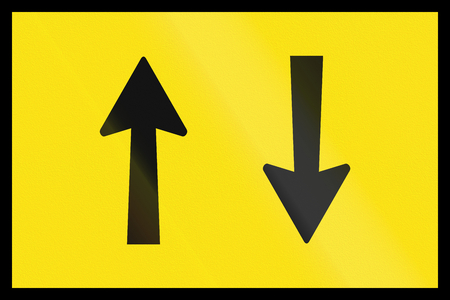 opposing: An Australian temporary roadwork sign - Opposing traffic
