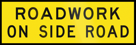 side of the road: An Australian temporary road sign - Roadwork on side road