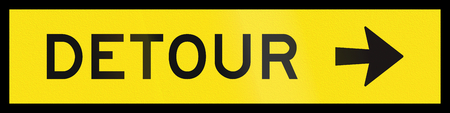 right handed: An Australian temporary road sign - Detour to the right